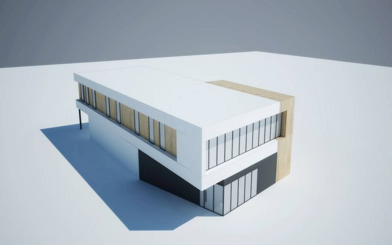 Koncepcja budynku handlowo-usługowego naprawy samochodów