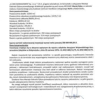 List referencyjny centrym Alfa dla Archime Białystok